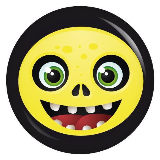 Button Fratze gelb