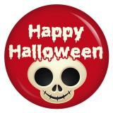 Button Happy Halloween Totenkopf